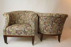 Oxford, Chesterfield Accent Chairs, 2 Stück mit Messingrädern