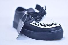 TUK BLACK WHITE LEATHER WOVEN CREEPER SNEAKERS # A6092 MENS US 12 EU 45 NOS PUNK