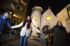 Hundreds of Muslims formed a human protective shield around an Oslo synagogue Saturday in a sign of solidarity with the Jewish community there, Reuters reported.