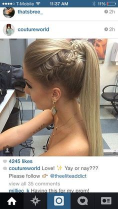 Straight ponytail with braid Mais