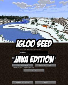 Minecraft Java Edition Igloo Seed:blueinto