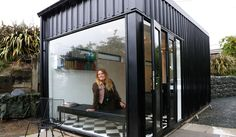 Sophie Scotson, hairstylist - works from her home in Russell St - salon inspired by shipping container (she couldn't get hold of a high quality shipping container at the time so designed something similar) 7.5 x 3m with steel cladding