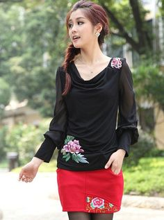 Chinese Style Embroidering Long Sleeve T-Shirt Black-- Click on the picture to order it>>Shop price:US$11.20---#shoes #wholesale #fashion #lovely #cheap #Korean #dress #sexy #clothes#