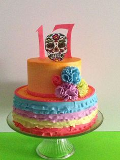 Day of the Dead themed cake for a friends daughter. It came out pretty cheerful.