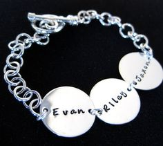 Sterling Silver Toggle Bracelet Hand Stamped by byHannahDesign.      I really love this.  Might have to get one!