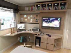Home office  (móveis pretos com partes amarelas) parede cinza