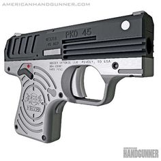 """New week new gun. Heizer Defense added the PKO-45 to their inventive line of solid pocket pistols. The slim PKO-45 is only .8″ wide, weighs around 25 oz. and is made of 100% US aerospace-grade stainless steel. The """"fixed-barrel-under-the-guide-rod"""" design claims to lessen felt-recoil but we'll let you know once we get our test gun in hand. From the March/April 2017 issue of American Handgunner. --------- #americanhandgunner #heizerdefense #righttobeararms #2a #igmilitia #45 #newgun…"""