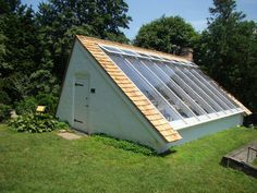 Renovations_Greenhouse I like the idea of a semi underground greenhouse to use the earth to keep temperatures moderated. I don't know if this is one of them but this design could be easily adapted to be one! Underground Greenhouse, Home Greenhouse, Window Greenhouse, Greenhouse Ideas, Victorian Greenhouses, Urban Farming, Raised Garden Beds, Indoor Plants, Solar