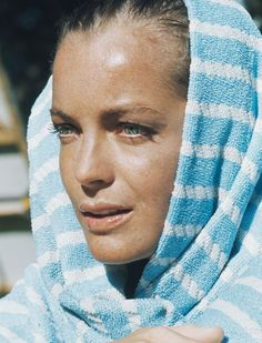 Romy Schneider on the set of La Piscine, 1969