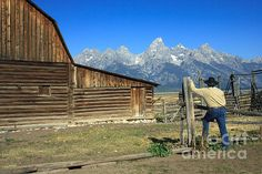 Cowboy with Grand Tetons Vista Photograph. Picture yourself here! Gorgeous wall art of the Great American West.