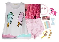 """""""PinkiePie Summer"""" by mylittlepony-outfits ❤ liked on Polyvore featuring Levi's, Boohoo, Vhernier, Vans, Accessorize, Luv Aj, country, MLP, MyLittlePony and pinkiepie"""