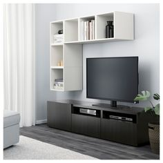 BESTÅ / EKET TV storage combination, white, walnut effect light gray. Find it here - IKEA Ikea Tv, Besta Tv Bank, Tv Bench, Diy Tv Stand, Ikea Family, Tv Storage, Record Storage, Floating Shelves Diy, Large Drawers