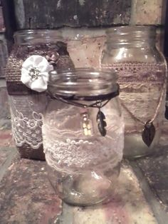 Shabby Chic decorated Mason Jars