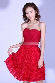 ボディスミニ/ショートカクテルウェディングドレスシャーリング魅力的な花スカート