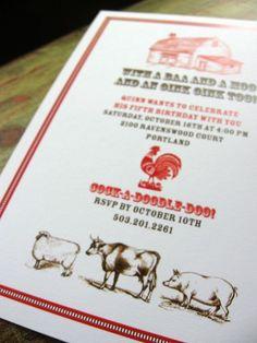 Farm Birthday Invitation by SpillingBeans on Etsy, $1.50