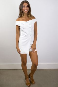 Noah Double Breasted Romper in Shell