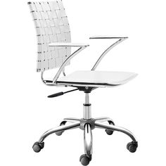 Criss Cross Office Chair in White by Zuo Modern 205031 combines a modern and transitional look. The Criss Cross office chair is made with a solid steel chrome frame and base, leatherette straps and seat, and includes an adjustable height feature. Home Office Desks, Home Office Furniture, Modern Furniture, Office Chairs, Desk Chairs, Furniture Chairs, White Furniture, Dining Chairs, Room Chairs