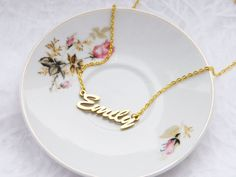 Personalized Metal Name Necklace Emily Name by kskalozubova, $10.00