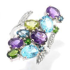 151-752 - Dallas Prince Multi Gemstone Ring Made w/ Swarovski Marcasite
