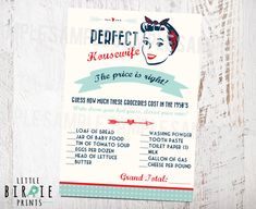 50's Bridal Shower Game The price is right by littlebirdieprints