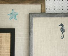 Pretty embroidered bulletin boards with starfish and sea horses on burlap, raffia or linen. Perfect for the beach house!  @LGDesignsBoards