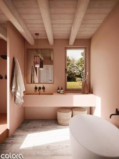 Add some warmth to your bathroom with earthy colour tones. Colour: Holy Terra WE Earthy Bathroom, Bathroom Colors, Bathroom Styling, Bathroom Interior Design, Bathroom Ideas, Colorful Bathroom, Bathroom Pink, Interior Office, Bathroom Trends