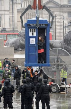 """Matt Superman Smith! Matt Smith and Jenna-Louise Coleman were seen mid-air in Trafalgar Square, London, as they filmed Doctor Who on Tuesday morning. Matt Smith actually refused a stunt double because David Tennant would be watching. :) such fan boys."""