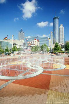 Georgia, Atlanta, Centennial Olympic Park fountain and cityscape