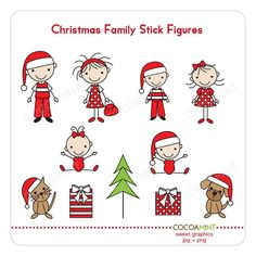 Christmas Family Stick Figures Clip Art by cocoamint on Etsy