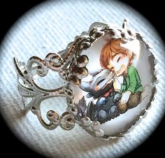 CUTE HICCUP & TOOTHLESS .. GLaSS ChARM RiNG .. by girlgamegeek How to Train Your Dragon - Cosplay Kawaii - Hiccup and Toothless Jewelry - Baby Toothless