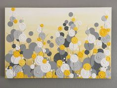 Items similar to Yellow, Gray, and White Textured Flower Art, 24x30 Ready to ship, Modern Acrylic Painting on Etsy