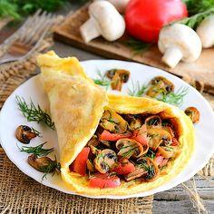 Low Carb Omelette mit Pilzen und Tomaten