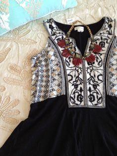 Meadow Rue Anthropologie XS Black Embroidered Peplum Top Cotton Modal Tank #Fashion #Anthropologie #Deal