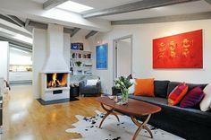 salon scandinave avec chaminée design
