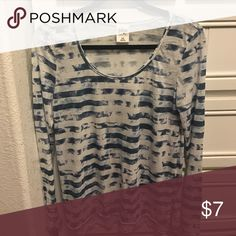 Long sleeve striped tie-dye t-shirt White and blue striped tie-dye long sleeve shirt. Tops Tees - Long Sleeve