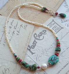 Turquoise and pearls...need to make more of these little lovelies!