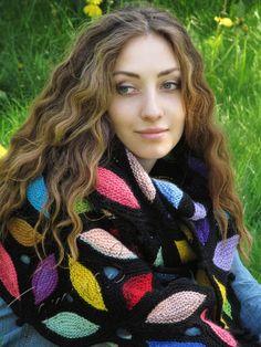 "Knit shawl ""Mardi Gras"" (knitted shawl, handmade wrap, knitting wool shawl, knit patchwork, stained-glass)"