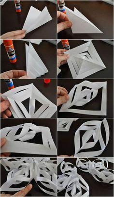 3D Schneeflocken aus papier basteln - Anleitung