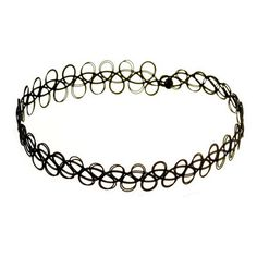 $5.77 90s Trendy Tattoo Black Choker Necklace Plastic Stretch Magic Choker Vintage 90s NE012-B