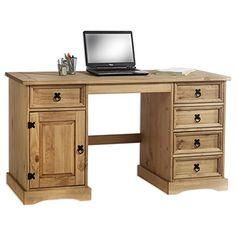 Schreibtisch Mexico Möbel TEQUILA, Kiefer massiv gewachst mit Schubladen und Tür