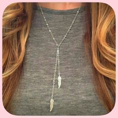 "20% off! HP NWT Sterling Silver Feather Necklace HP 5/16/16! "" Work week chic party! ""This has two pretty dangling feathers! Which are a huge trend right now! This is one of my favorites! Chosen by @whiteflower_ please check out her amazing closet! Boutique Jewelry Necklaces"
