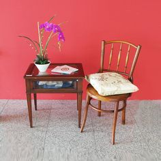 Small side table with display compartment and vintage stool. Available exclusively at Red Sega Seeds Singapore.