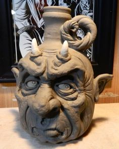 Geriatric Devil Jug- WIP by thebigduluth on DeviantArt New Media Art, New Art, Face Jugs, Marionette, Halloween Mug, Mugs For Sale, Sculpture Clay, Ceramic Clay, Clay Creations