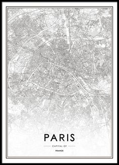Paris, Plakat i gruppen Plakater / Kort & byer hos Desenio AB Hamburg Poster, London Poster, London Map, Paris Map, London City, London Street, Poster Black And White, White Art, Wall Prints
