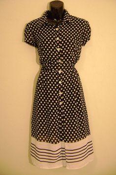 vintage b&w polkadot dress