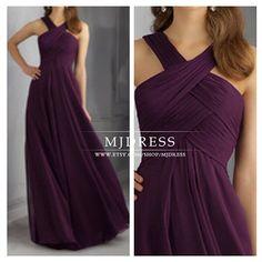 Sexy purple bridesmaid dress chiffon bridesmaid dress by MJDRESS