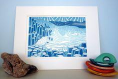 Original lino print Giant's Causeway no2 by adeegan on Etsy