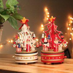 1 Piece Branco ou Vermelho, girando caixa de música caixa de música de natal da árvore de natal presente de Natal árvore de Natal Decoração de interiores, frete Grátis