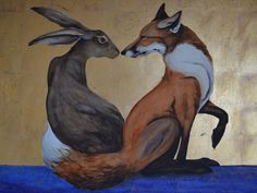 The Space Between the Hare and the Fox, watercolour and gold leaf. by Jackie Morris