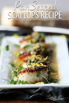 Selecting The Suitable Cheeses To Go Together With Your Oregon Wine Pan Seared Scallops Recipe - Learn How To Pan Sear Scallops Until They Are Perfectly Golden Brown, And Then Finish It With An Amazing Lemon Butter Sauce. Best Seafood Recipes, Fish Recipes, Healthy Recipes, Lemon Butter Sauce, Herb Butter, Butter Recipe, Appetizer Plates, Appetizer Recipes, Appetizers